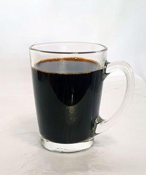 kopi o in glass cup